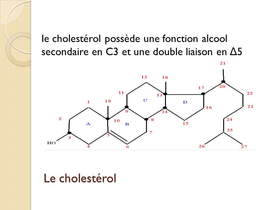 Le cholestérol Ie cholestérol possède une fonction alcool secondaire en C3 et une double liaison en Δ 5