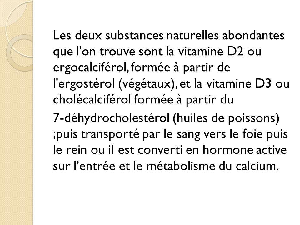 Les deux substances naturelles abondantes que l on trouve sont la vitamine D2 ou ergocalciférol, formée à partir de l ergostérol (végétaux), et la vitamine D3 ou cholécalciférol formée à partir du 7-déhydrocholestérol (huiles de poissons) ;puis transporté par le sang vers le foie puis le rein ou il est converti en hormone active sur lentrée et le métabolisme du calcium.