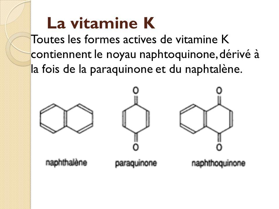 La vitamine K Toutes les formes actives de vitamine K contiennent le noyau naphtoquinone, dérivé à la fois de la paraquinone et du naphtalène.