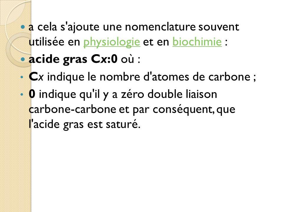 a cela s ajoute une nomenclature souvent utilisée en physiologie et en biochimie :physiologiebiochimie acide gras Cx:0 où : Cx indique le nombre d atomes de carbone ; 0 indique qu il y a zéro double liaison carbone-carbone et par conséquent, que l acide gras est saturé.