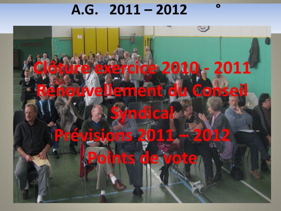 A.G. 2011 – 2012 ° Clôture exercice 2010 - 2011 Renouvellement du Conseil Syndical Prévisions 2011 – 2012 Points de vote