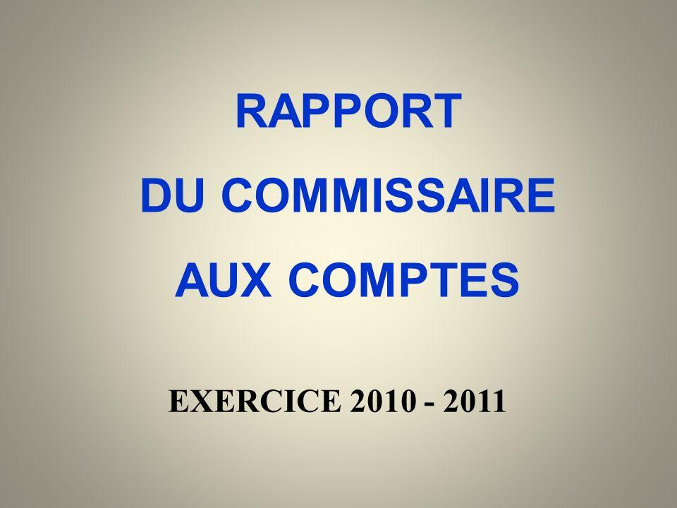 RAPPORT DU COMMISSAIRE AUX COMPTES EXERCICE 2010 - 2011