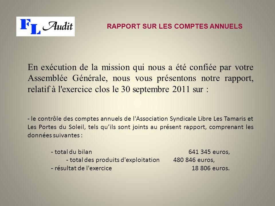 RAPPORT SUR LES COMPTES ANNUELS En exécution de la mission qui nous a été confiée par votre Assemblée Générale, nous vous présentons notre rapport, re