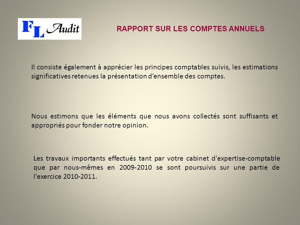Il consiste également à apprécier les principes comptables suivis, les estimations significatives retenues la présentation densemble des comptes. RAPP