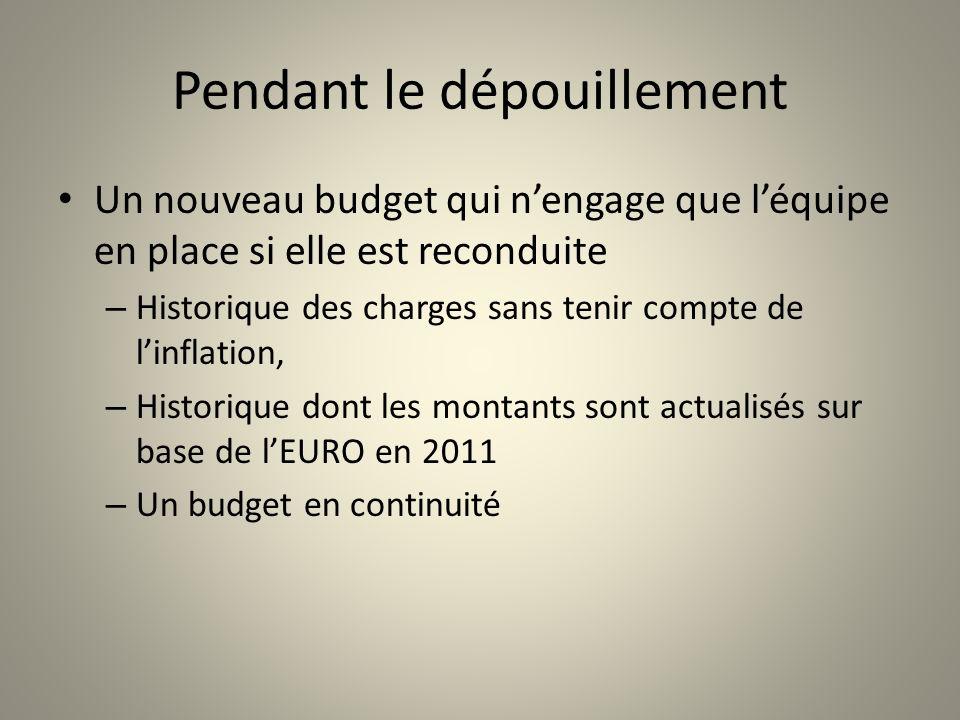 Pendant le dépouillement Un nouveau budget qui nengage que léquipe en place si elle est reconduite – Historique des charges sans tenir compte de linfl