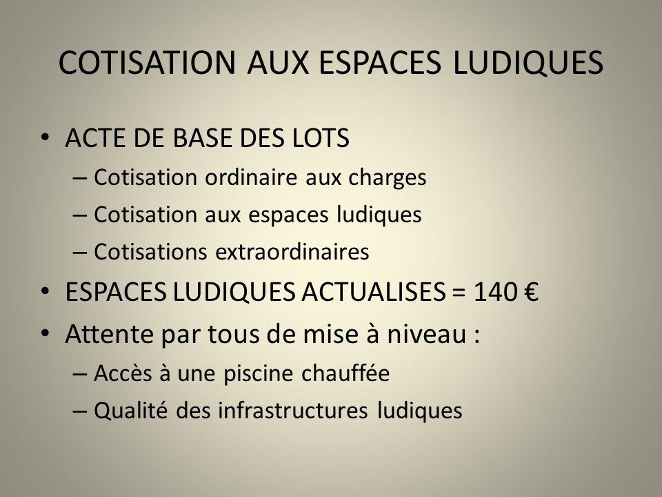 COTISATION AUX ESPACES LUDIQUES ACTE DE BASE DES LOTS – Cotisation ordinaire aux charges – Cotisation aux espaces ludiques – Cotisations extraordinair