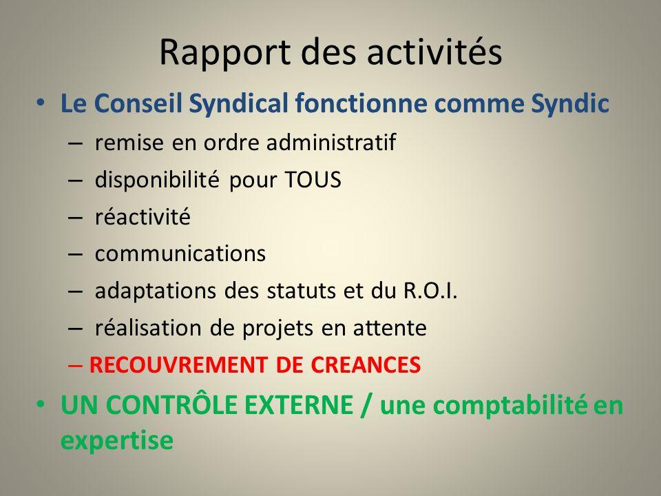Rapport des activités Le Conseil Syndical fonctionne comme Syndic – remise en ordre administratif – disponibilité pour TOUS – réactivité – communicati