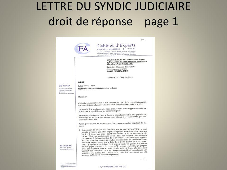 LETTRE DU SYNDIC JUDICIAIRE droit de réponse page 1