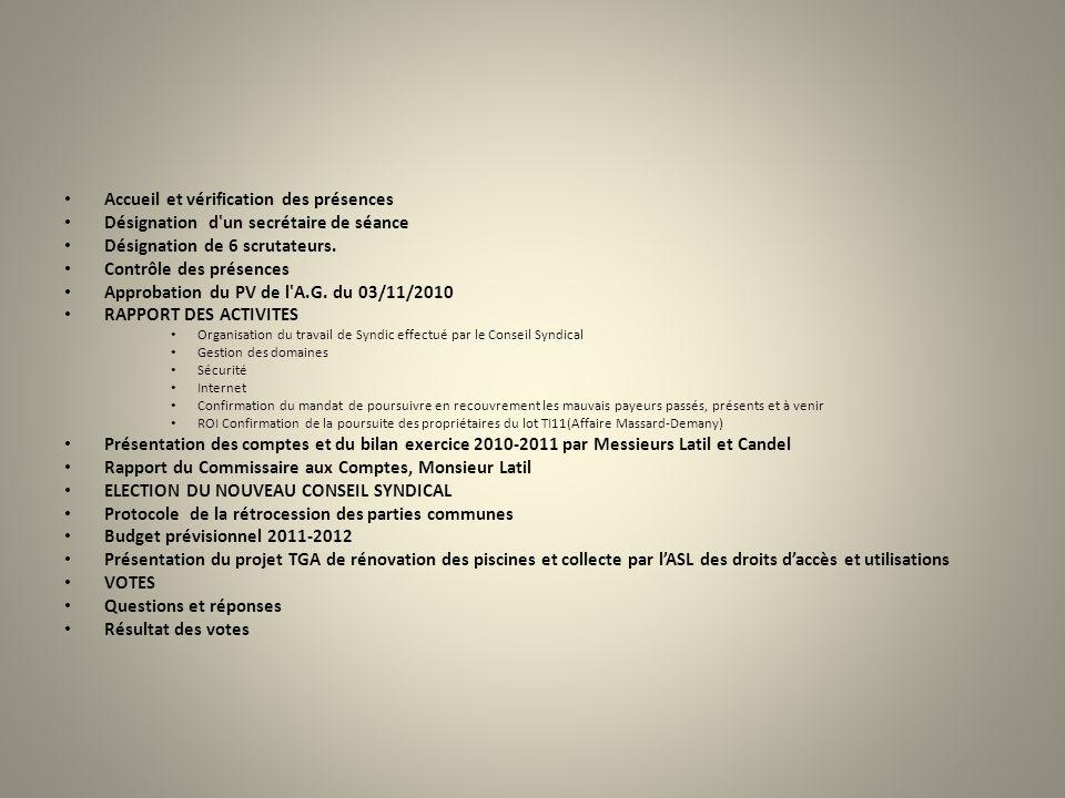 Accueil et vérification des présences Désignation d'un secrétaire de séance Désignation de 6 scrutateurs. Contrôle des présences Approbation du PV de