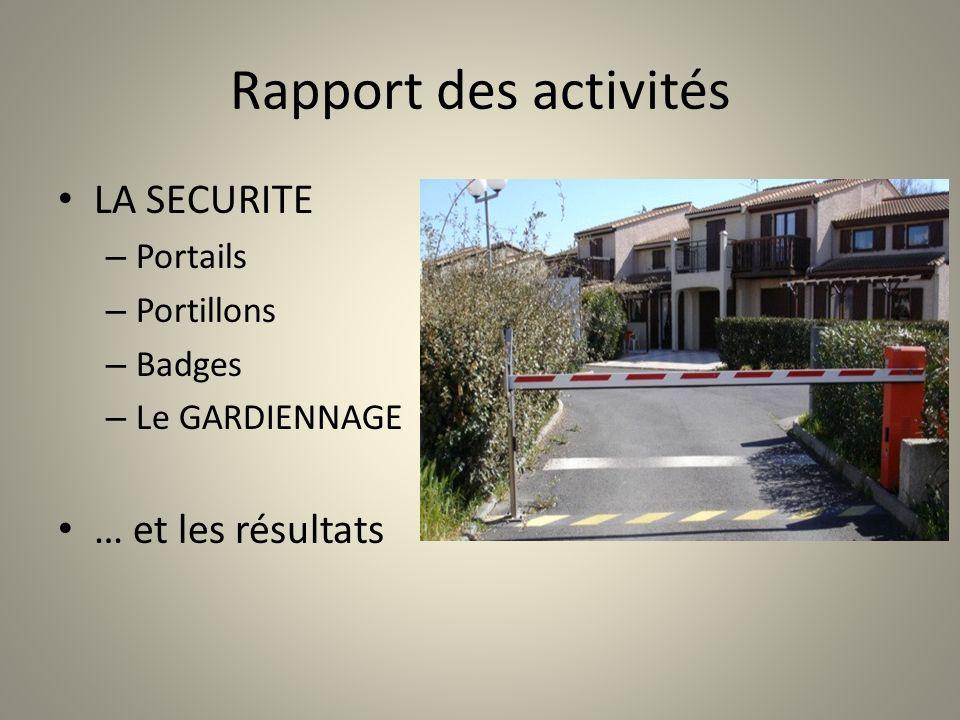Rapport des activités LA SECURITE – Portails – Portillons – Badges – Le GARDIENNAGE … et les résultats