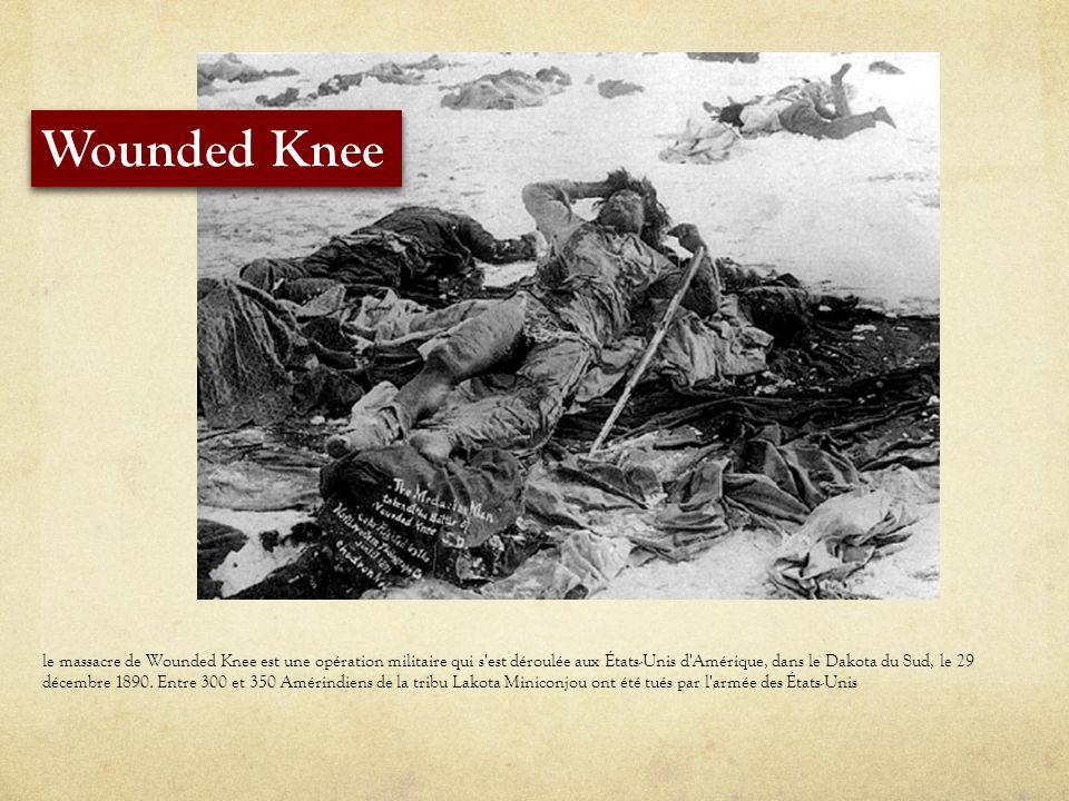 le massacre de Wounded Knee est une opération militaire qui s est déroulée aux États-Unis d Amérique, dans le Dakota du Sud, le 29 décembre 1890.
