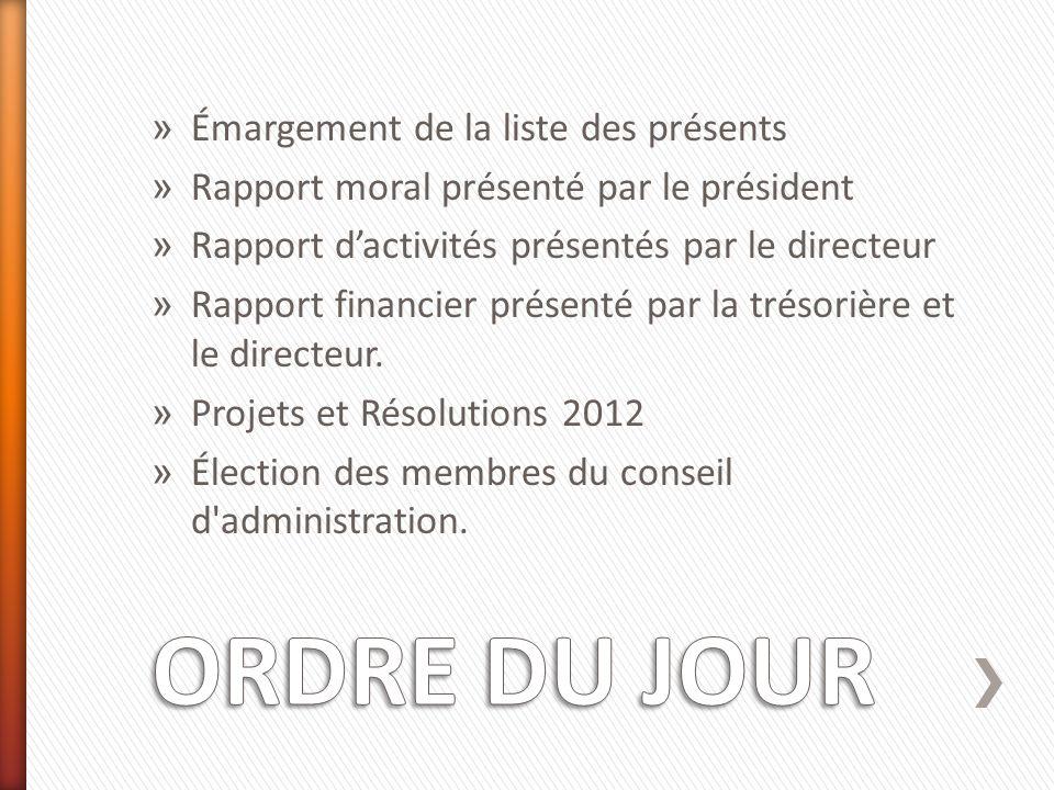 » Émargement de la liste des présents » Rapport moral présenté par le président » Rapport dactivités présentés par le directeur » Rapport financier présenté par la trésorière et le directeur.