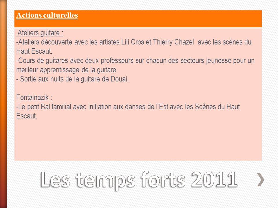 Actions culturelles Ateliers guitare : -Ateliers découverte avec les artistes Lili Cros et Thierry Chazel avec les scènes du Haut Escaut. -Cours de gu