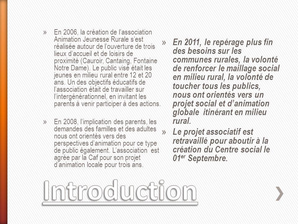 » En 2006, la création de lassociation Animation Jeunesse Rurale sest réalisée autour de louverture de trois lieux daccueil et de loisirs de proximité (Cauroir, Cantaing, Fontaine Notre Dame).
