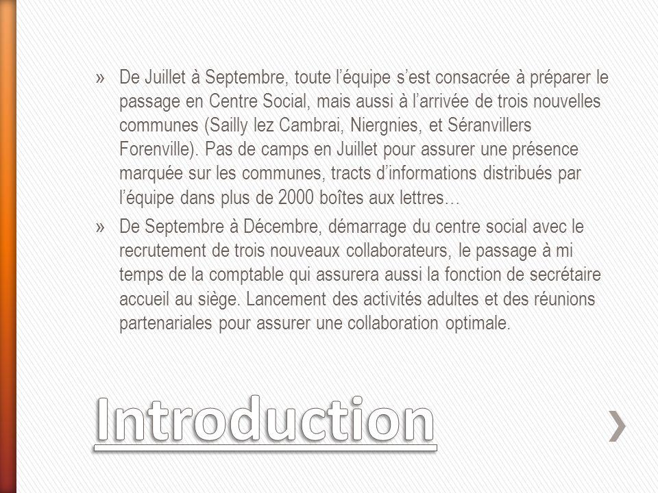 » De Juillet à Septembre, toute léquipe sest consacrée à préparer le passage en Centre Social, mais aussi à larrivée de trois nouvelles communes (Sailly lez Cambrai, Niergnies, et Séranvillers Forenville).