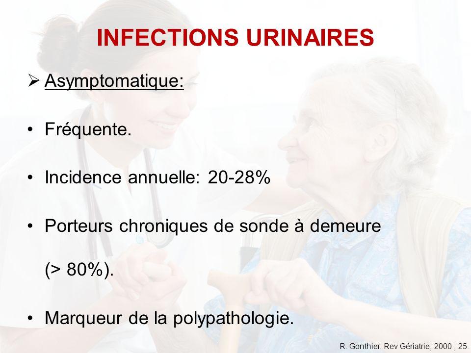 Asymptomatique: Fréquente. Incidence annuelle: 20-28% Porteurs chroniques de sonde à demeure (> 80%). Marqueur de la polypathologie. INFECTIONS URINAI