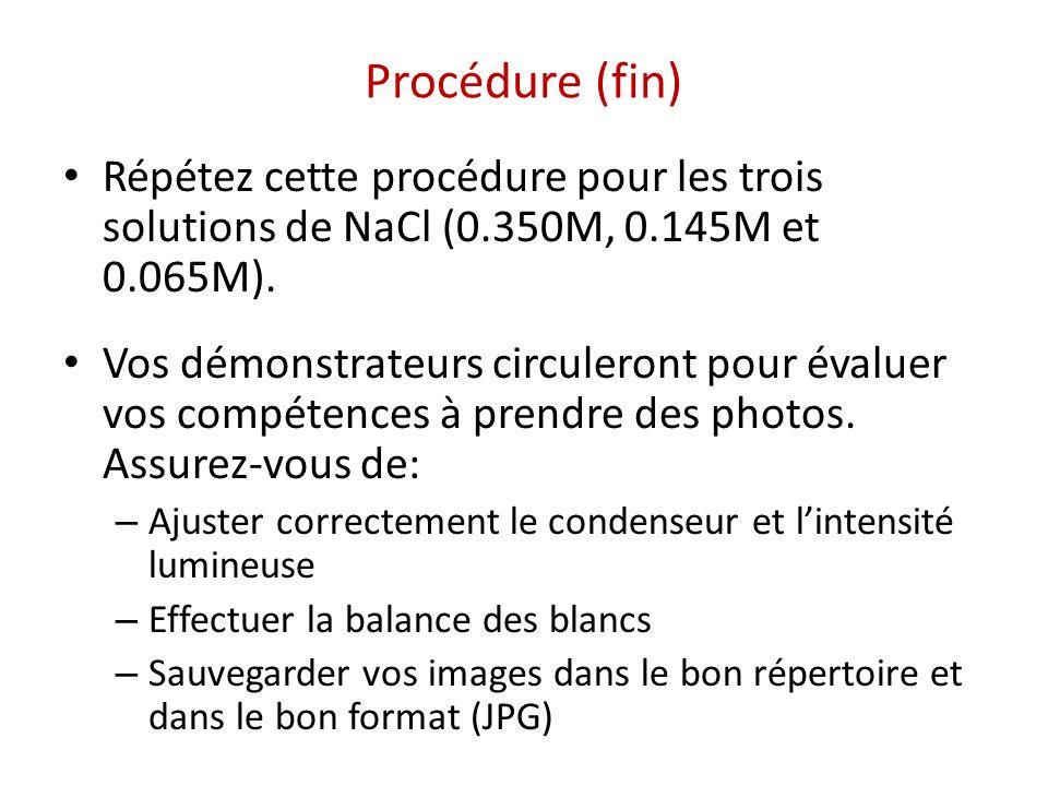 Procédure (fin) Répétez cette procédure pour les trois solutions de NaCl (0.350M, 0.145M et 0.065M). Vos démonstrateurs circuleront pour évaluer vos c