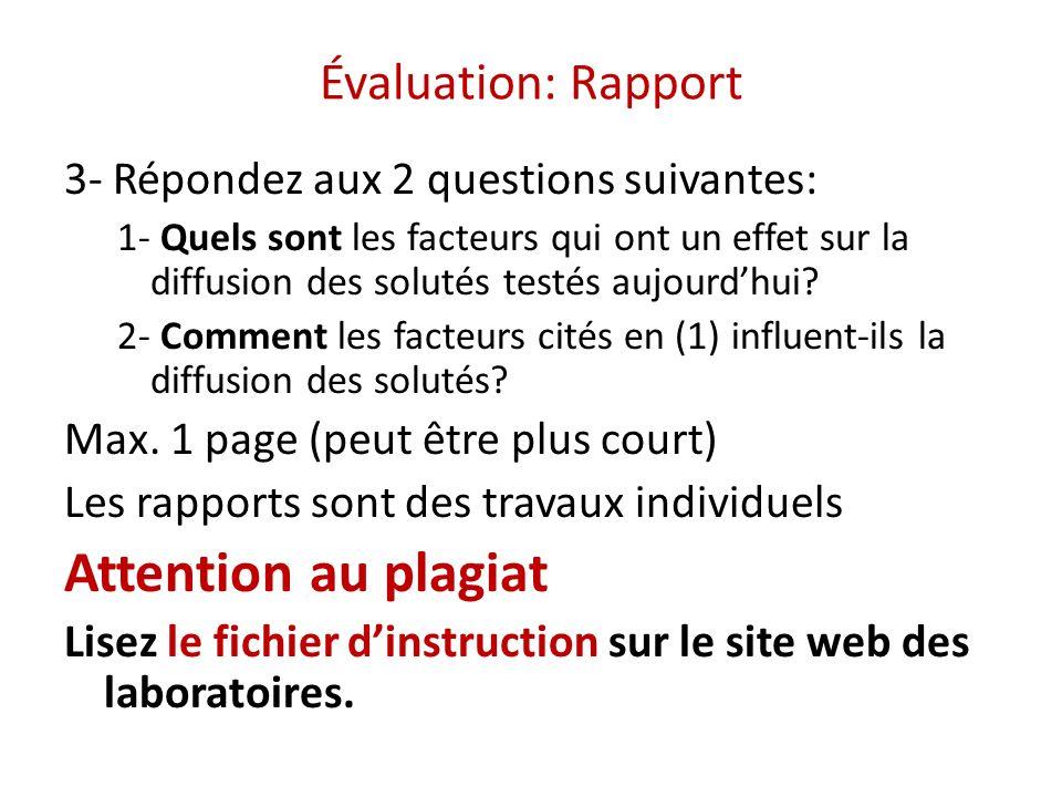 Évaluation: Rapport 3- Répondez aux 2 questions suivantes: 1- Quels sont les facteurs qui ont un effet sur la diffusion des solutés testés aujourdhui?