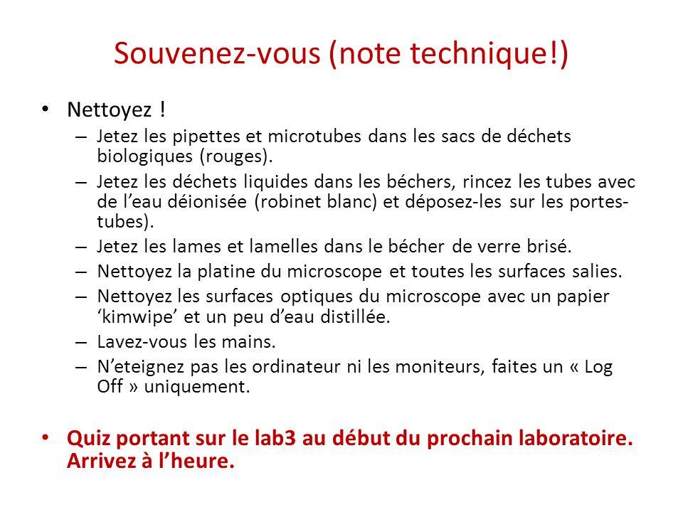 Souvenez-vous (note technique!) Nettoyez ! – Jetez les pipettes et microtubes dans les sacs de déchets biologiques (rouges). – Jetez les déchets liqui