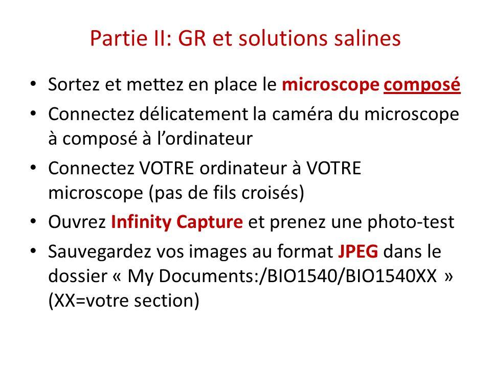 Partie II: GR et solutions salines Sortez et mettez en place le microscope composé Connectez délicatement la caméra du microscope à composé à lordinat