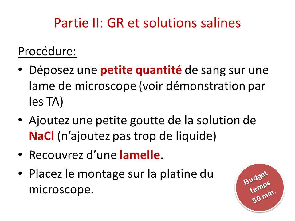 Partie II: GR et solutions salines Procédure: Déposez une petite quantité de sang sur une lame de microscope (voir démonstration par les TA) Ajoutez u