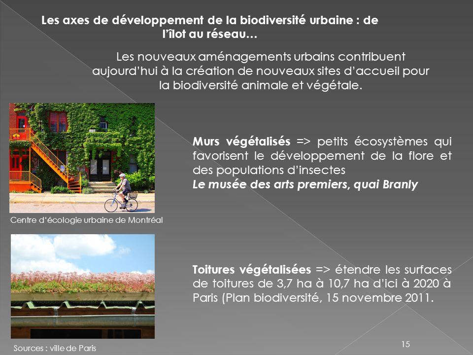 Les axes de développement de la biodiversité urbaine : de lîlot au réseau… Les nouveaux aménagements urbains contribuent aujourdhui à la création de n