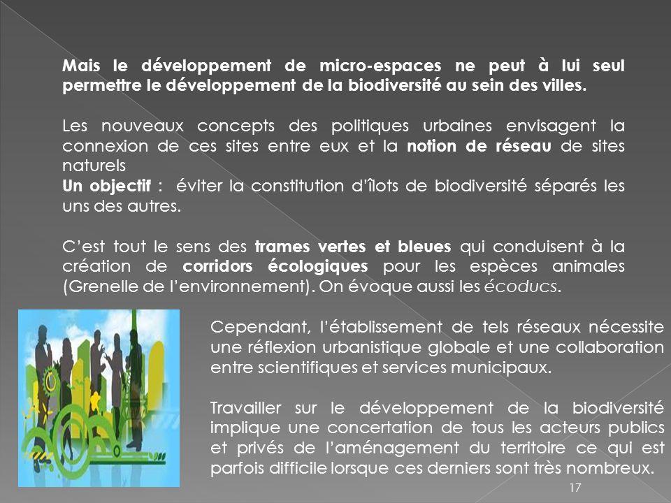 Mais le développement de micro-espaces ne peut à lui seul permettre le développement de la biodiversité au sein des villes. Les nouveaux concepts des