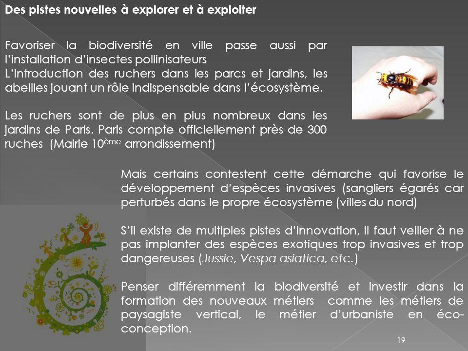 Des pistes nouvelles à explorer et à exploiter Favoriser la biodiversité en ville passe aussi par linstallation dinsectes pollinisateurs Lintroduction