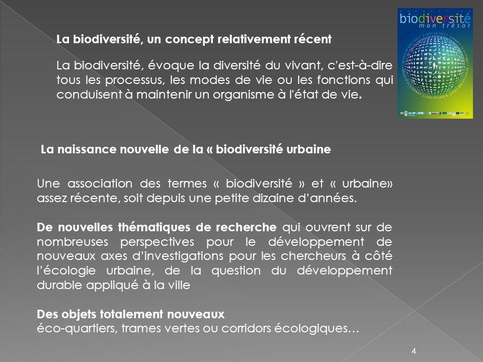 La biodiversité, un concept relativement récent La naissance nouvelle de la « biodiversité urbaine Une association des termes « biodiversité » et « ur