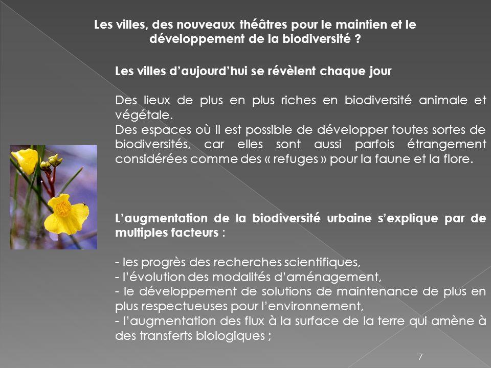 La préservation des biodiversités urbaines et leur mise en valeur se poursuivent En 2010, Paris a élaboré un plan de préservation et de renforcement de la biodiversité réunissant particuliers, associations, professionnels… 95 propositions en faveur de la biodiversité Des modalités de gestion en faveur de la biodiversité se généralisent La gestion différenciée afin de limiter les actions de lhomme sur les espaces verts.