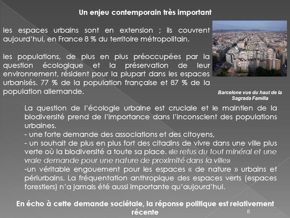 Un enjeu contemporain très important les espaces urbains sont en extension ; ils couvrent aujourdhui, en France 8 % du territoire métropolitain. les p