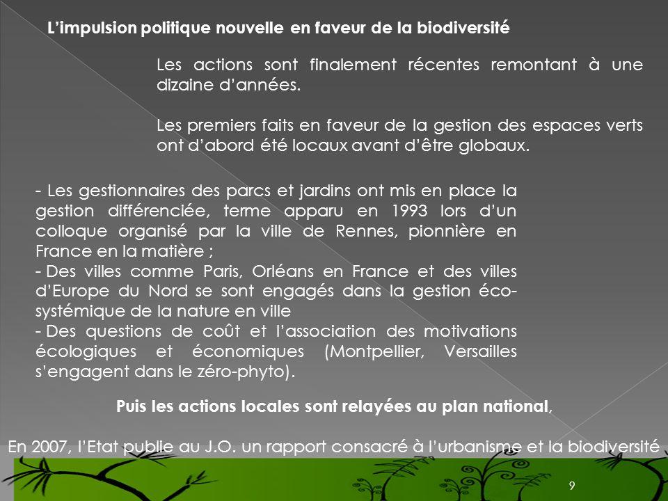Limpulsion politique nouvelle en faveur de la biodiversité Les actions sont finalement récentes remontant à une dizaine dannées. Les premiers faits en