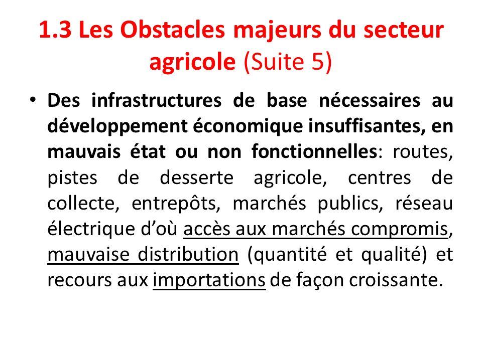 1.3 Les Obstacles majeurs du secteur agricole (Suite 5) Des infrastructures de base nécessaires au développement économique insuffisantes, en mauvais
