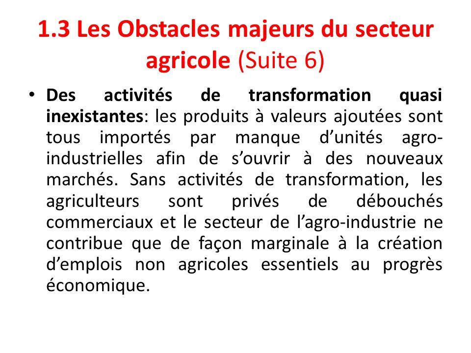 1.3 Les Obstacles majeurs du secteur agricole (Suite 6) Des activités de transformation quasi inexistantes: les produits à valeurs ajoutées sont tous