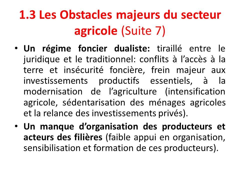 1.3 Les Obstacles majeurs du secteur agricole (Suite 7) Un régime foncier dualiste: tiraillé entre le juridique et le traditionnel: conflits à laccès