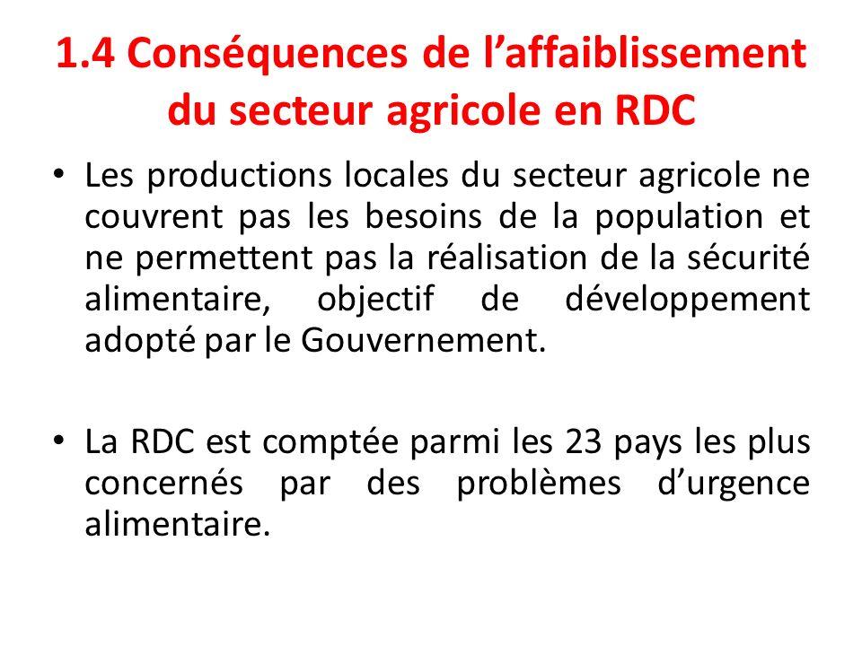 1.4 Conséquences de laffaiblissement du secteur agricole en RDC Les productions locales du secteur agricole ne couvrent pas les besoins de la populati