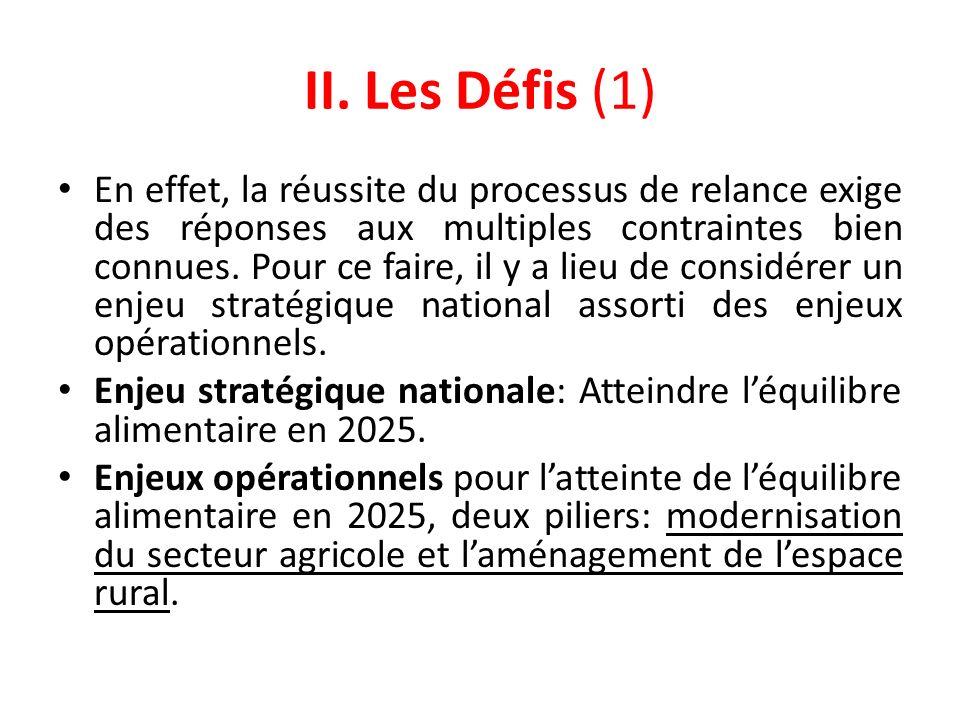 II. Les Défis (1) En effet, la réussite du processus de relance exige des réponses aux multiples contraintes bien connues. Pour ce faire, il y a lieu