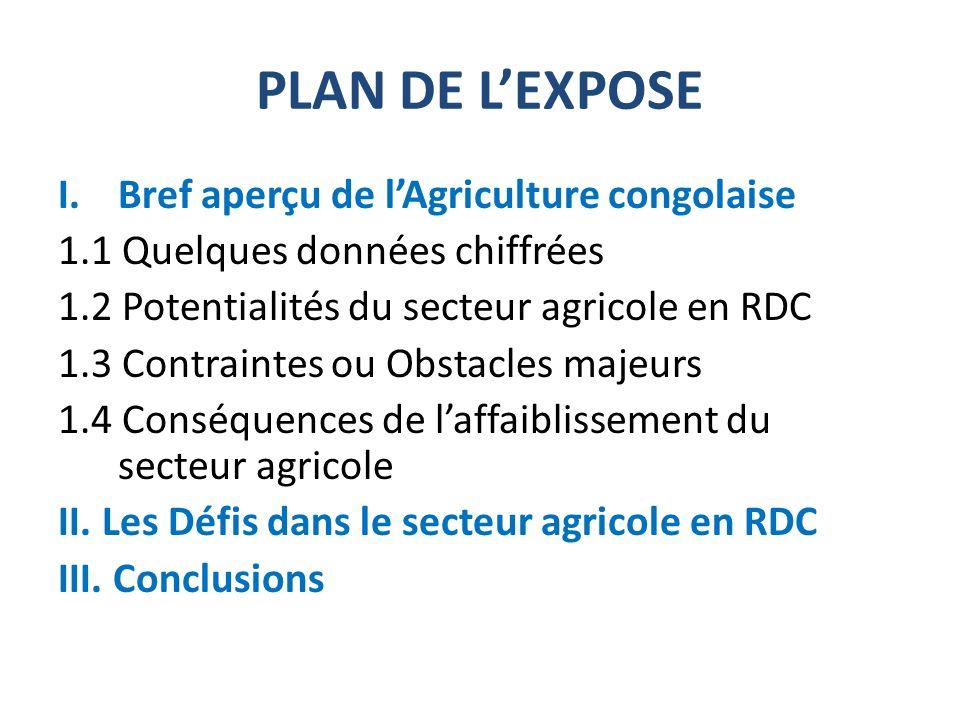 1.1 QUELQUES DONNÉES CHIFFRÉES Superficie de la RDC : 2.345.000 Km² +/- 80 millions dhectares de terres arables dont 10% exploitées et 4 millions dhectares irrigables +/-135 millions ha des forêts tropicales (52% de la RDC) Potentiel halieutique: +/- 700.000 T de poissons par an Potentiel de Gros bétail à élever + 40 millions de têtes +/-60 millions dhabitants dont 70 millions en milieu rural (six millions de ménages agricoles) 400.000 artisans pêcheurs.