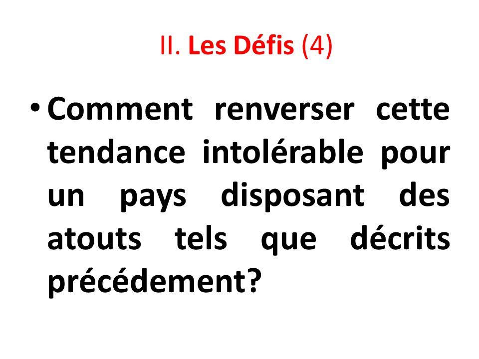 II. Les Défis (4) Comment renverser cette tendance intolérable pour un pays disposant des atouts tels que décrits précédement?
