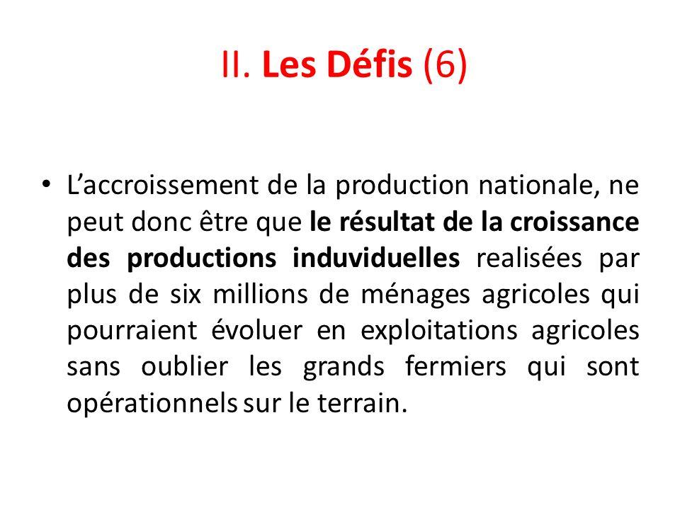 II. Les Défis (6) Laccroissement de la production nationale, ne peut donc être que le résultat de la croissance des productions induviduelles realisée