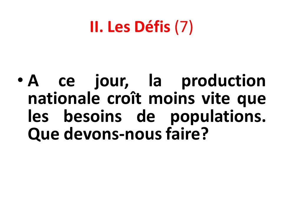 II. Les Défis (7) A ce jour, la production nationale croît moins vite que les besoins de populations. Que devons-nous faire?