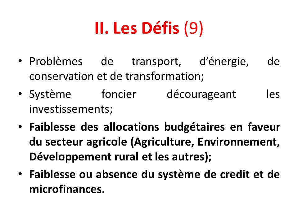 II. Les Défis (9) Problèmes de transport, dénergie, de conservation et de transformation; Système foncier décourageant les investissements; Faiblesse