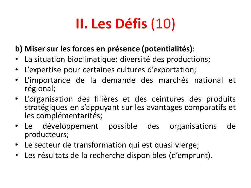 II. Les Défis (10) b) Miser sur les forces en présence (potentialités): La situation bioclimatique: diversité des productions; Lexpertise pour certain