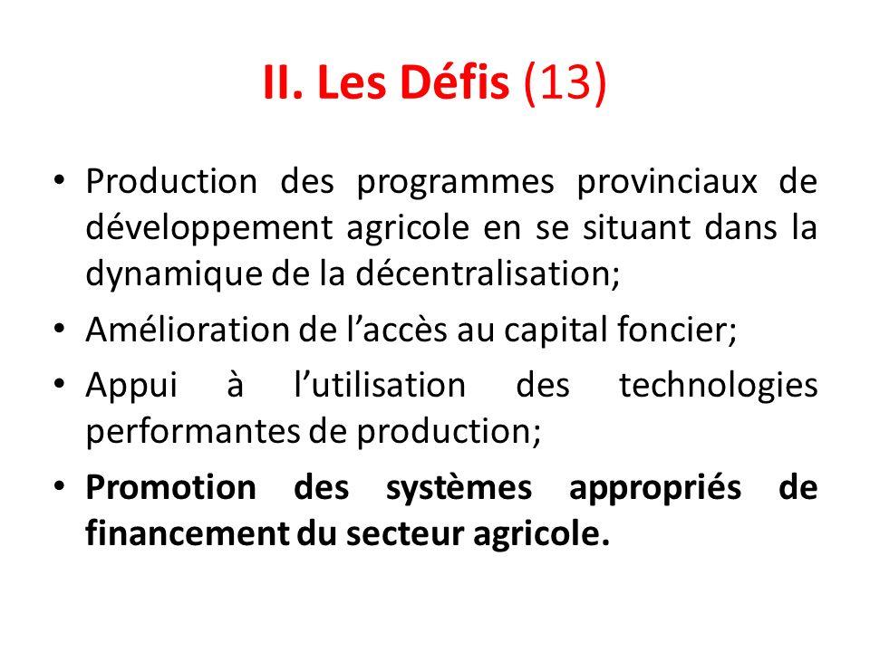 II. Les Défis (13) Production des programmes provinciaux de développement agricole en se situant dans la dynamique de la décentralisation; Amélioratio