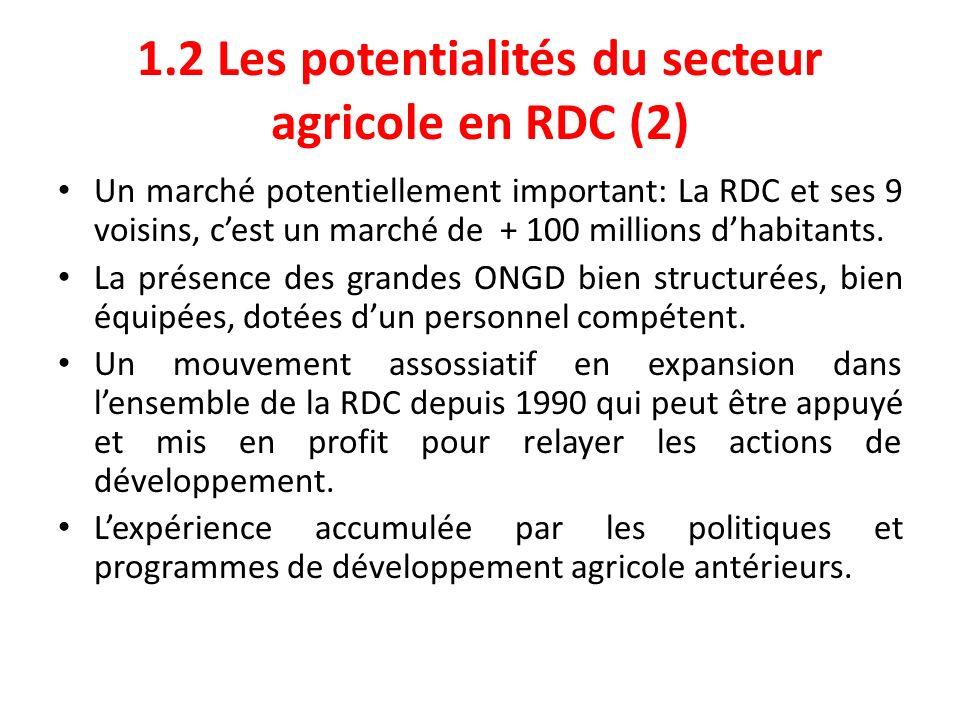 1.2 Les potentialités du secteur agricole en RDC (2) Un marché potentiellement important: La RDC et ses 9 voisins, cest un marché de + 100 millions dh