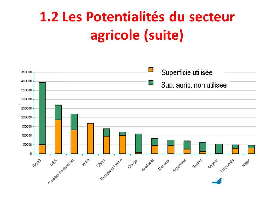 1.4 Conséquences de laffaiblissement du secteur agricole en RDC (Suite 3) Importations annuelles via le Port de Matadi (Kinshasa et sa périphérie), bon an mal an: 150.000 T de poissons congelés; 80.000 T de poulets et abats congelés; 400.000 T de céréales (blé et riz); 60.000 T dhuile de palme; 40.000 T de sucre; 10.000 T de lait en poudre et les bateaux rentrent quasiment vides.