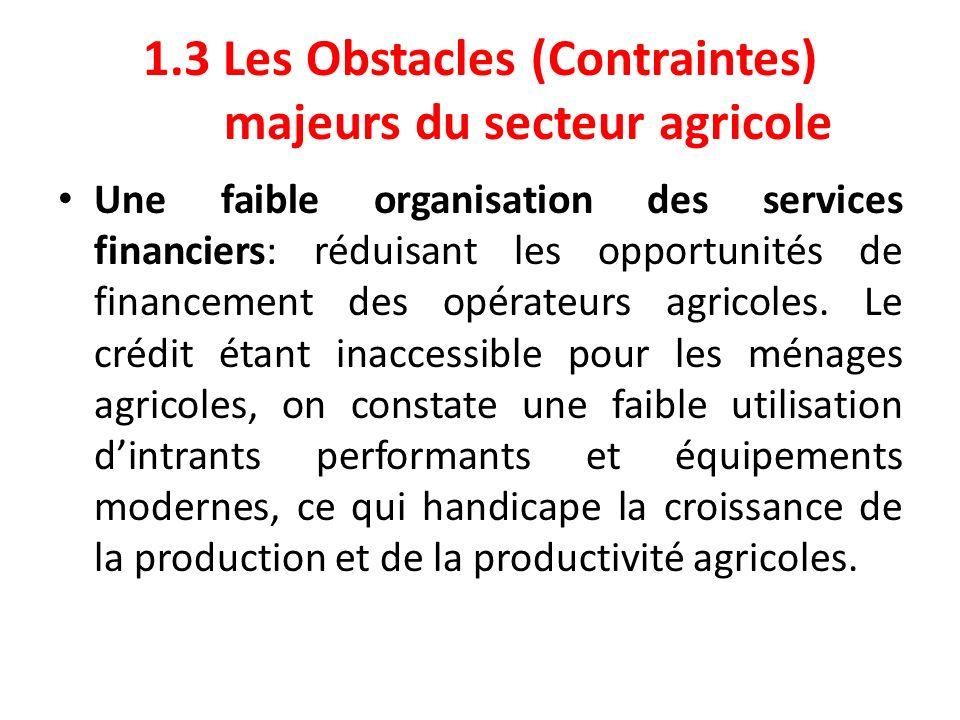1.3 Les Obstacles majeurs du secteur agricole (Suite 1) Linaccessibilité du crédit agricole: Absence des structures formelles des crédits dans les zones de production agricole.