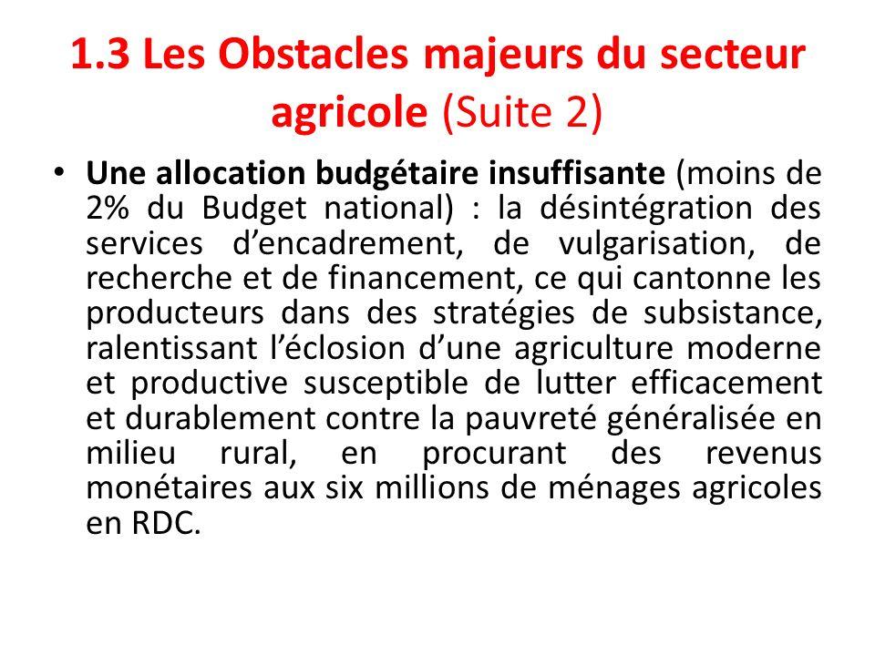 1.3 Les Obstacles majeurs du secteur agricole (Suite 3) Lapport du Budget national dans le secteur agricole reste faible: 2002: 0,80% 2003: 2,50% 2004: 1,30% 2005: 1,50% 2006: 1,60% 2007: 1,70% 2008: 2,20% 2009: 3,80%