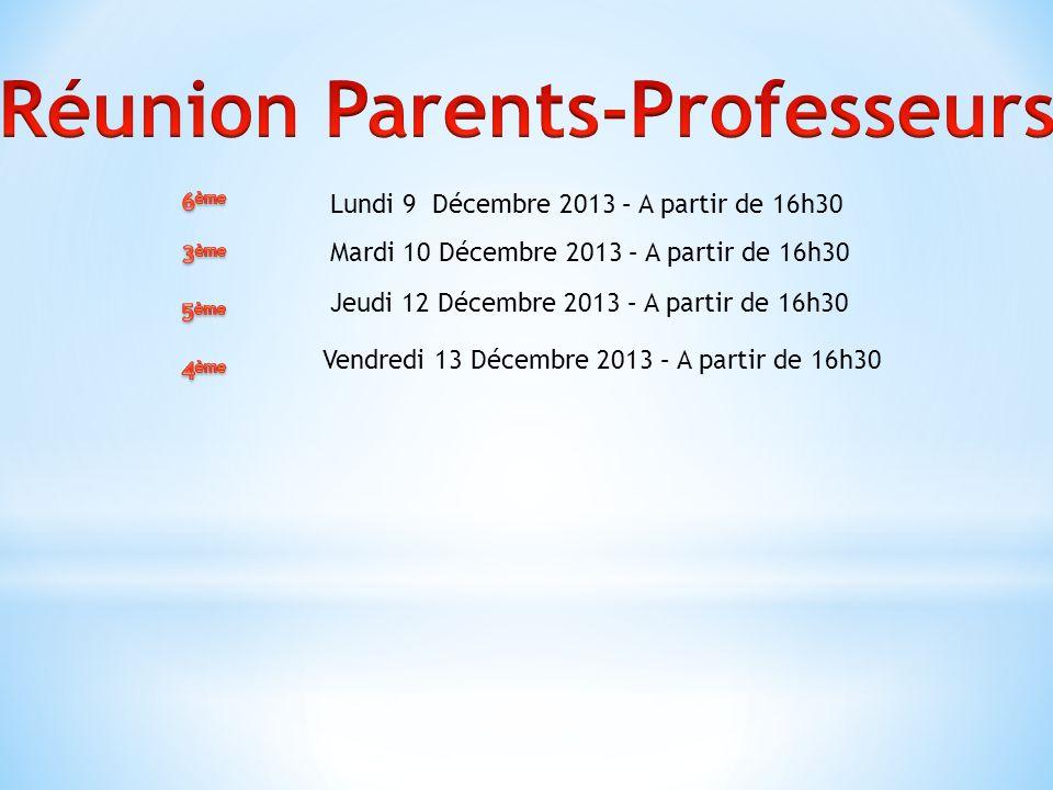 Lundi 9 Décembre 2013 – A partir de 16h30 Mardi 10 Décembre 2013 – A partir de 16h30 Jeudi 12 Décembre 2013 – A partir de 16h30 Vendredi 13 Décembre 2013 – A partir de 16h30