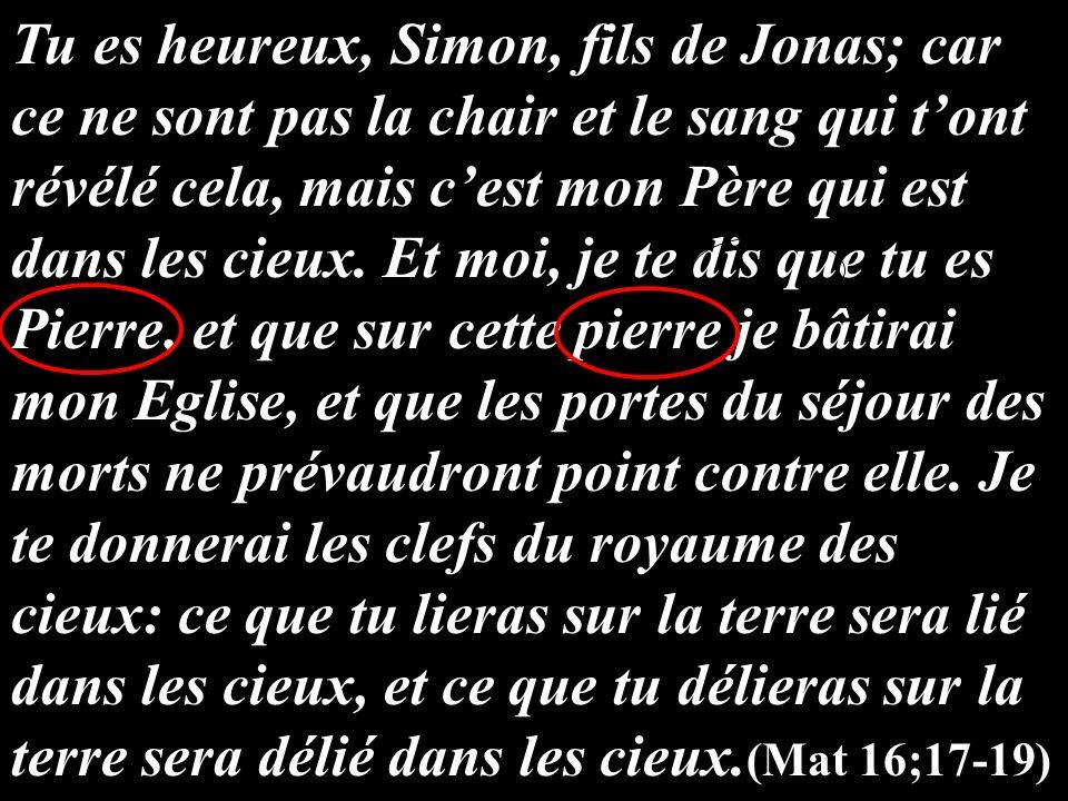 Tu es heureux, Simon, fils de Jonas; car ce ne sont pas la chair et le sang qui tont révélé cela, mais cest mon Père qui est dans les cieux. Et moi, j